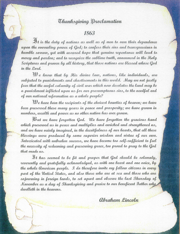 Thankgiving Day Proclamation by Abraham Lincoln
